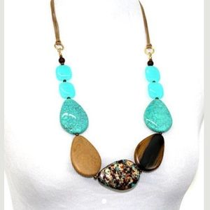 Wax cord string Blue Pendant Statement Necklace